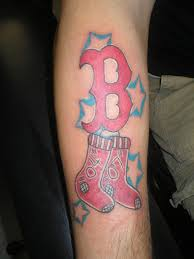 Shaded Stars And Boston Red Sox Tattoos On Arm