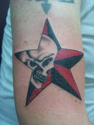 Skull In Nautical Star Tattoo On Arm