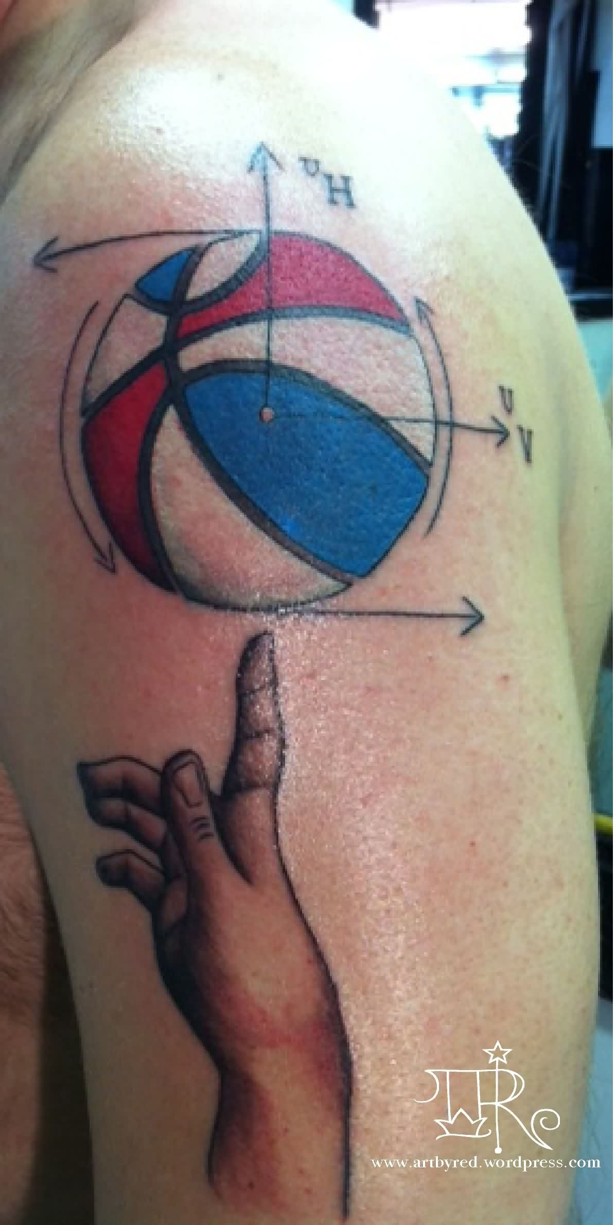 Sports Ball Physics Tattoo On Shoulder
