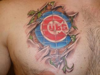 Sports Logo And Vine Ripped Skin Tattoos On Chest