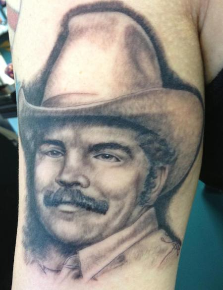 Sportsman Smiling Portrait Tattoo On Muscles