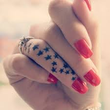 Tiny Black Star Tattoos On Finger For Girls