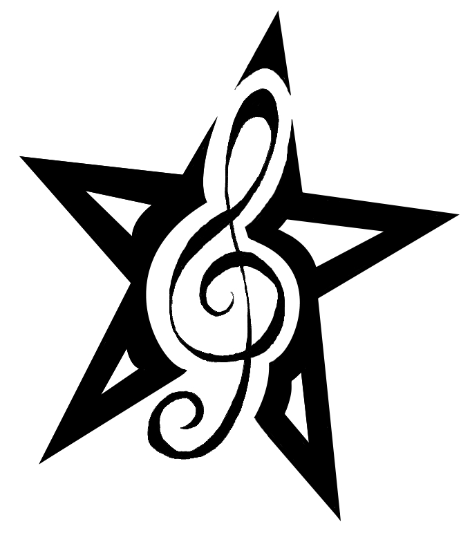 Treble Clef Star Tattoo Stencil