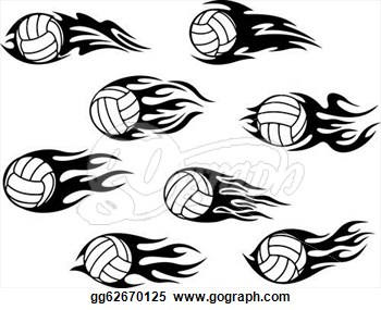 Tribal Flames Volleyball Tattoos Set