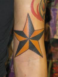 Truly Amazing Nautical Star Tattoo On Arm