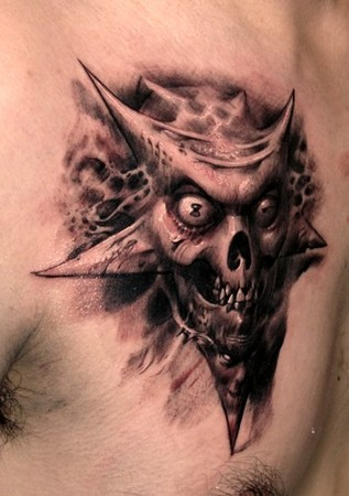 Wicked Skull Tattoo On Chest