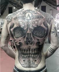 A Large Skull Tattoo On Back