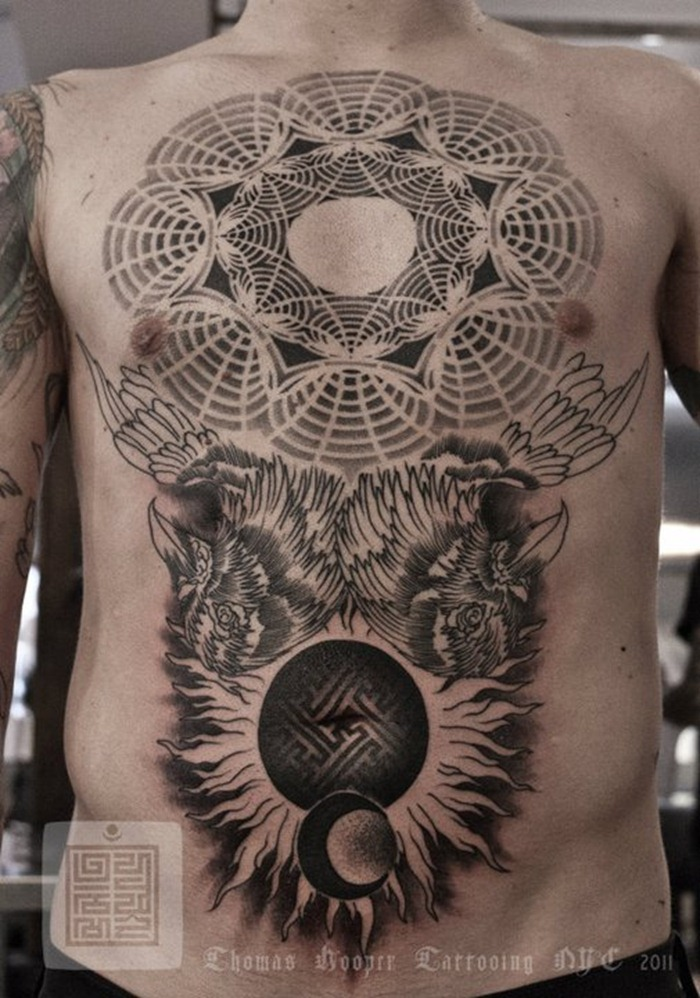 A Sacred Geometry Tattoo By Artist And Designer Thomas Hooper Wth Birds Sun And Moon