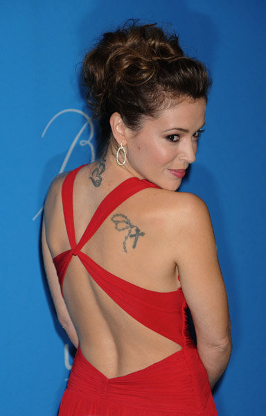 Actress Alyssa Milano Back Shoulder Tattoo Shot
