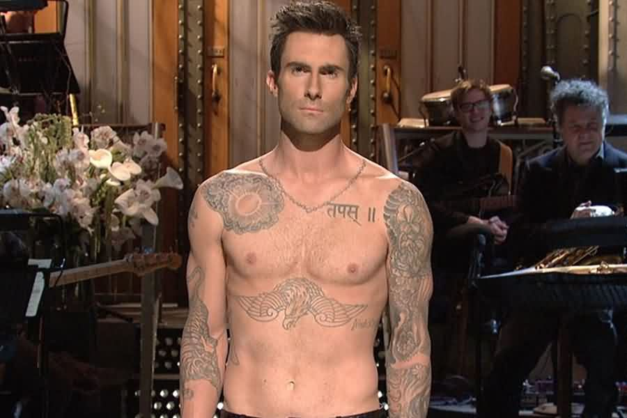Adam Levine's Hindi Tattoo On Front Shoulder