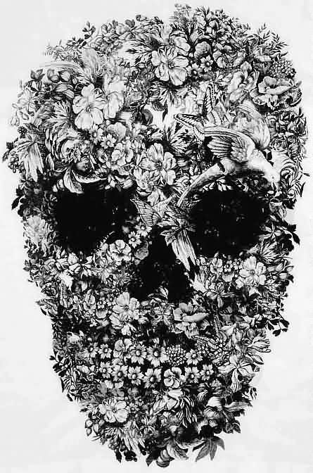 Again Floral Skull Tattoo Design