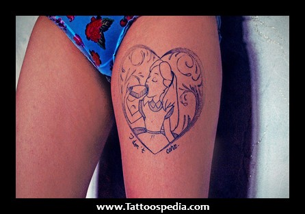 Alice In Wonderland Thigh Tattoo