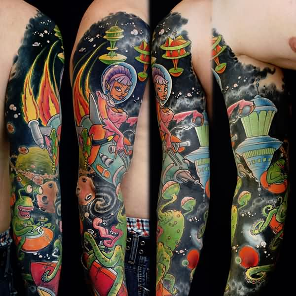Alien Spaceships Sleeve Tattoos