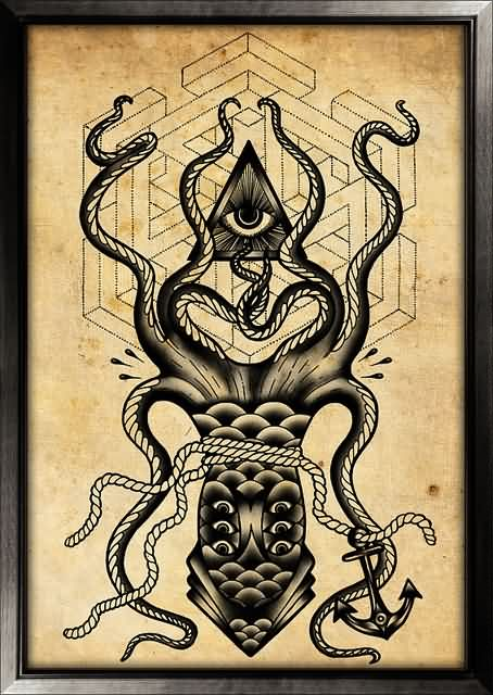 All Seeing Eye And Multi Eyed Octopus Tattoo Photo