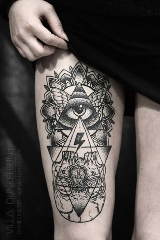 All Seeing Eye Tattoo On Right Thigh