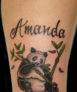 Amanda Panda Eating Bamboo Tree Tattoo On Arm