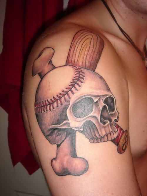 Amazing Baseball Skull Tattoo On Biceps