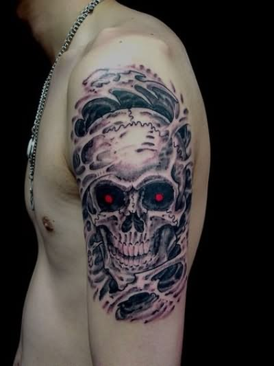 Amazing Biomech Wicked Skull Tattoo On Shoulder