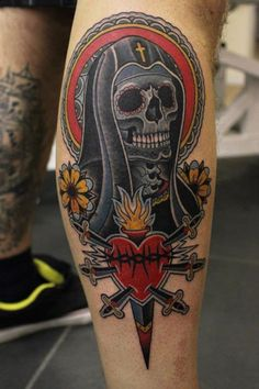 Amazing Black Skeleton And Sacred Heart Tattoos On Leg