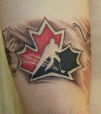 Amazing Canadian Hockey Team Logo Tattoo