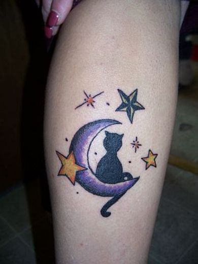Amazing Cat Moon And Stars Tattoos On Leg