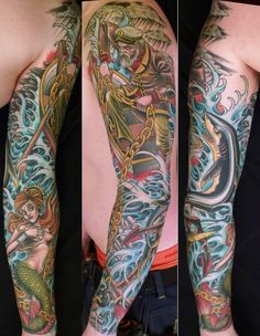 Amazing Colored Pirate Ship And Mermaid Tattoos On Sleeve