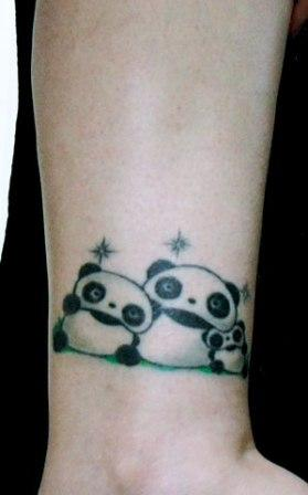 Amazing Family Of Panda Tattoo On Ankle