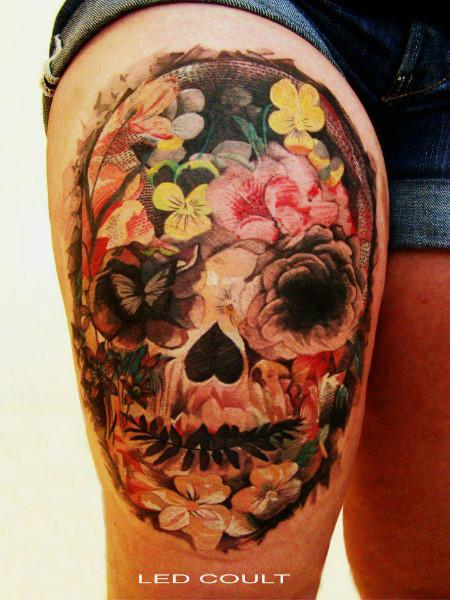 Amazing Floral Skull Tattoo ON Thigh