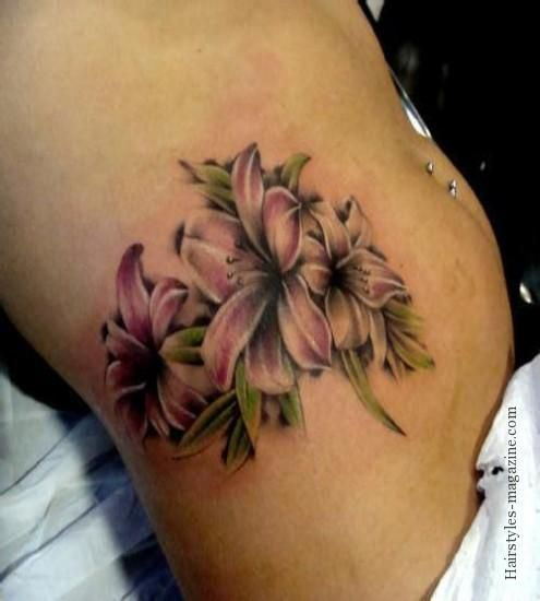 Amazing Flowers Tattoos On Stomach