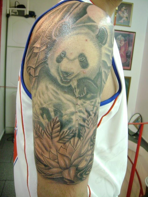 Amazing Forest Panda Bear And Lotus Tattoos On Half Sleeve