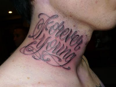 Amazing Forever Young Neck Tattoo