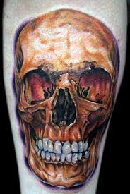 Amazing Golden Skull Tattoo