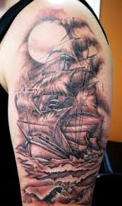 Amazing Grey Ink Ocean Half Sleeve Tattoos