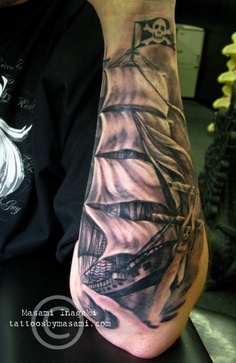Amazing Grey Ink Ship Tattoo On Arm