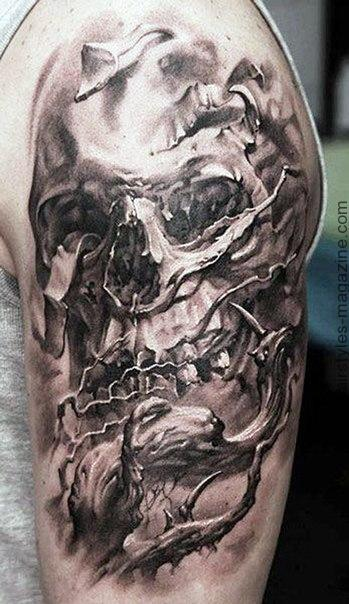 Amazing Grey Ink Skull Tatoo On Half Sleeve
