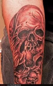 Amazing Grey Ink Skull Tattoos