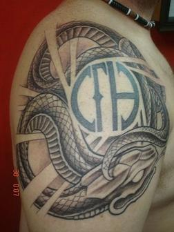 Amazing Grey Ink Snake Tattoo On Shoulder