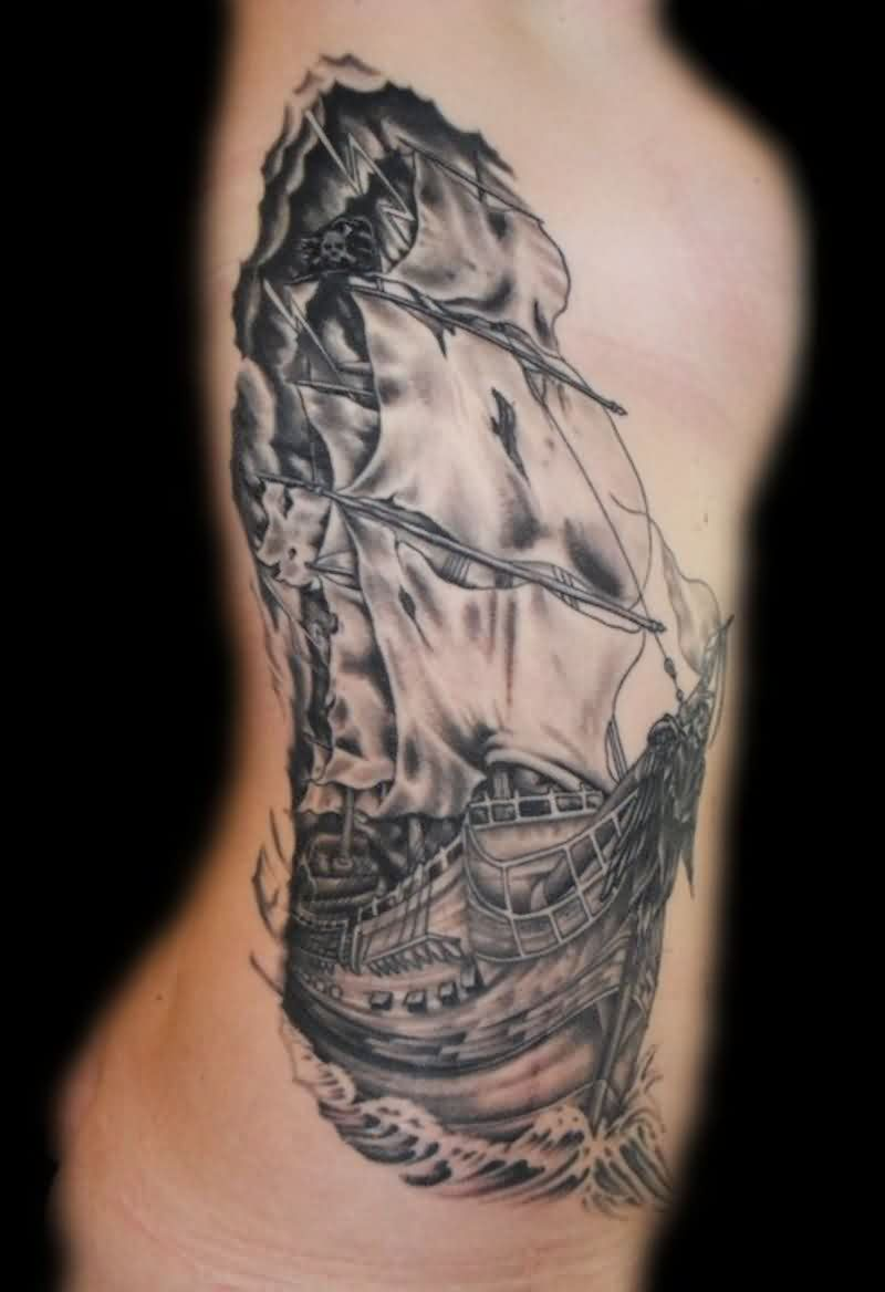 Amazing Grey Ink Tall Ship Tattoo On Rib Side