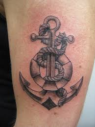 Amazing Grey Ink Tube Anchor Tattoo On Muscles