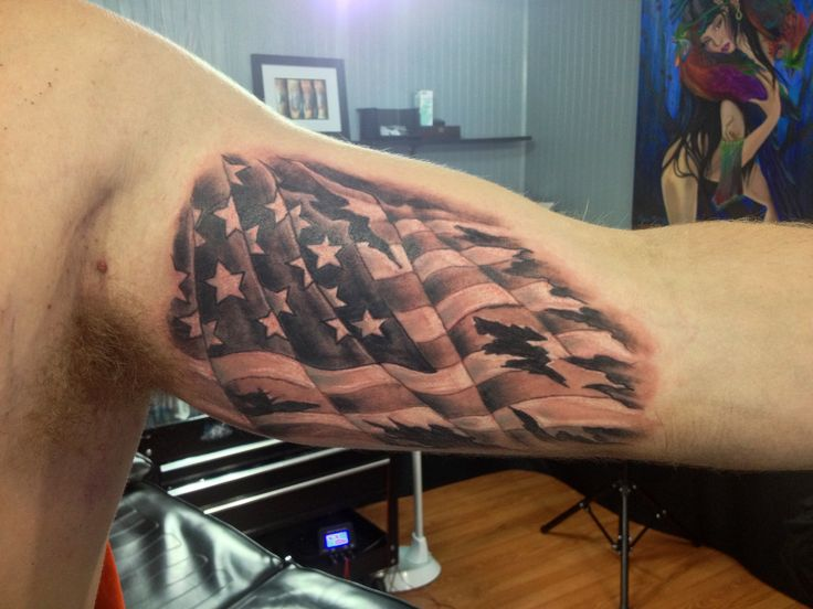 Amazing Inner Muscles Tattoo Of A USA Flag