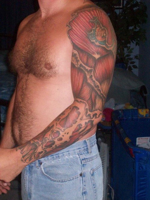 Amazing Muscles Tissue Tattoos On Sleeve