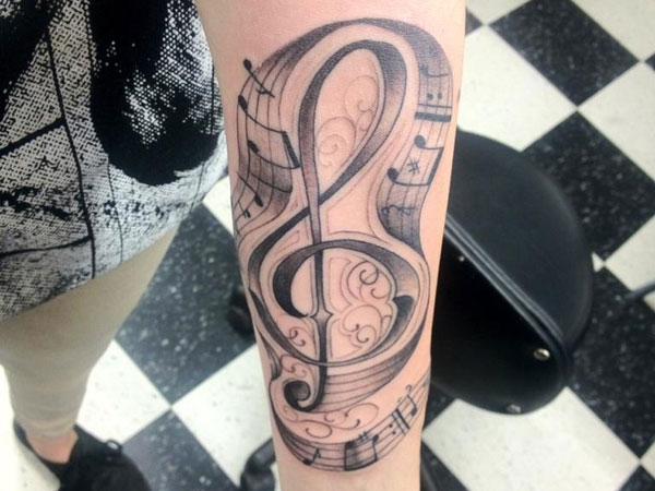 Amazing Music Tattoos On Arm For Boys