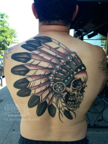 Amazing Native American Skull Tattoo On Back