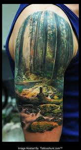 Amazing Nature Scene Half Sleeve Tattoo