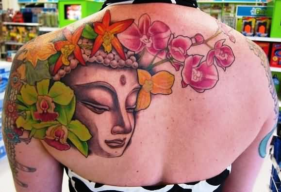 Amazing Orchid And Buddha Tattoos On Upperback