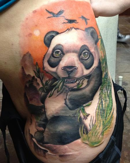 Amazing Panda In Forest Tattoo On Full Ribs