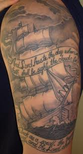 Amazing Pirate Ship Tattoo On Half Sleeve