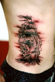 Amazing Pirate Ship Tattoo On Side Rib