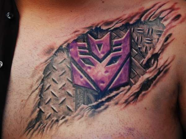 Amazing Realistic Ripped skin Tattoo On Chest