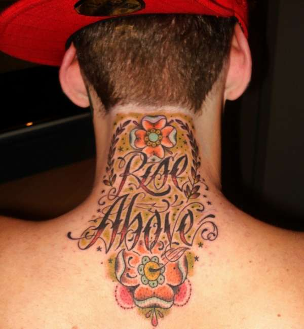 Amazing Red Cap And Rise Above Neck Tattoos